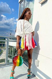 Rainbow flare mini dress