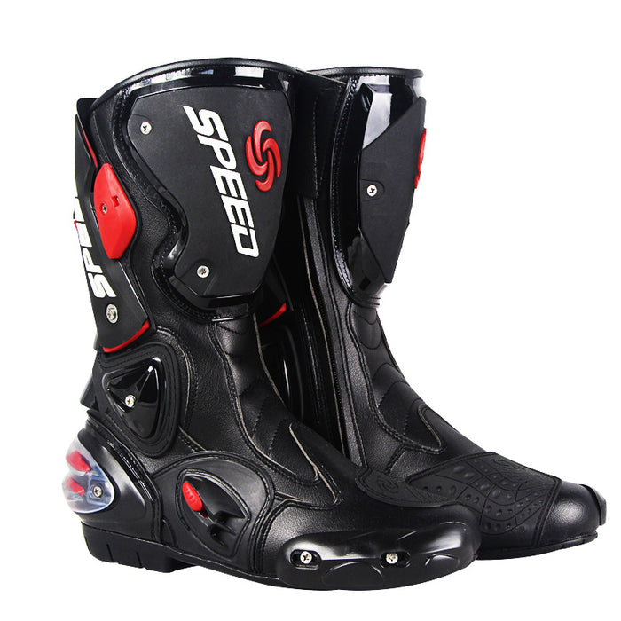 SPEED Professional Motorcycle Motocross Racing Microfiber Leather Boots Men's