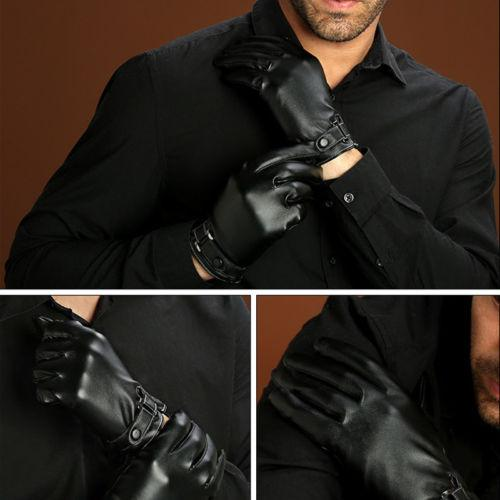 Fashion Male PU Leather Motorcycle Riding Gloves