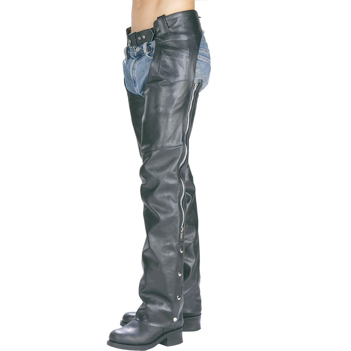 Black Leather Motorcycle Chap Pants