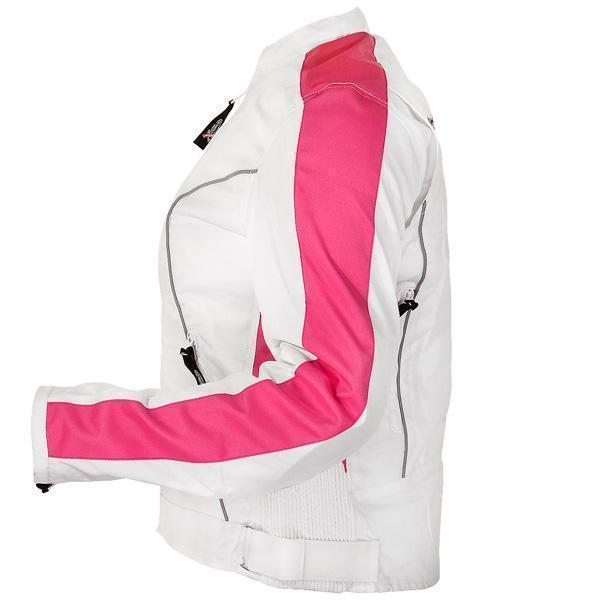 Women's White and Pink Tri-Tex Motorcycle Jacket