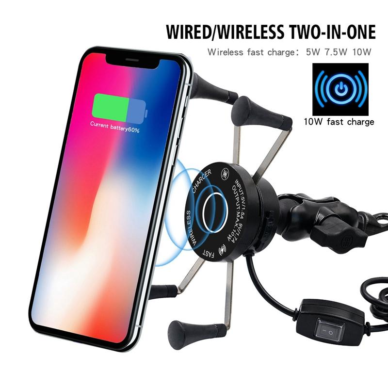 Motorcycle Cell Phone Holder 360°Adjustable Handlebar Wireless Charger Holder