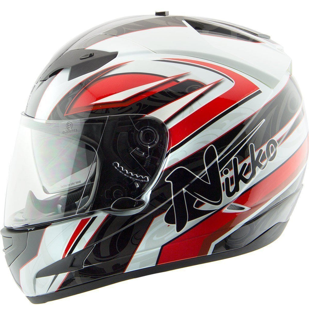 Nikko N916 White/Red Full Face Helmet