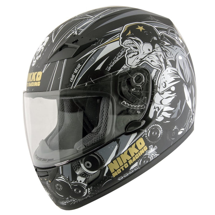Nikko 'Raw Nerve' N922 #4 Matte Black and Gold Full Face Helmet