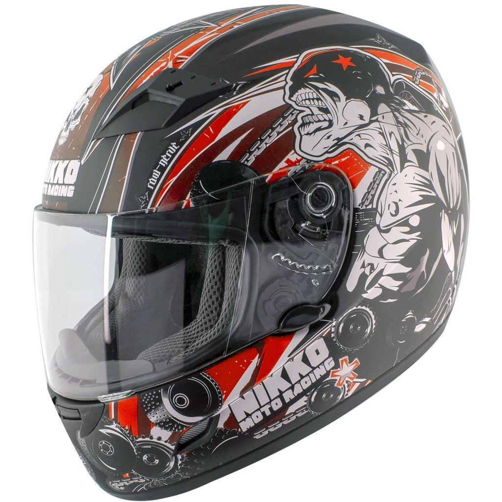 Nikko 'Raw Nerve' N922 #4 Matte Black and Red Full Face Helmet