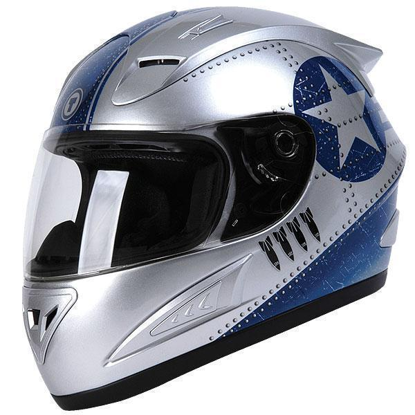 Silver Fighter Full Face Helmet