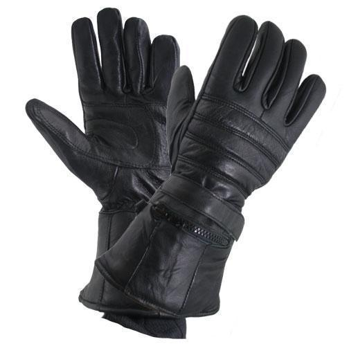 Men's Black Leather Gauntlet Gloves