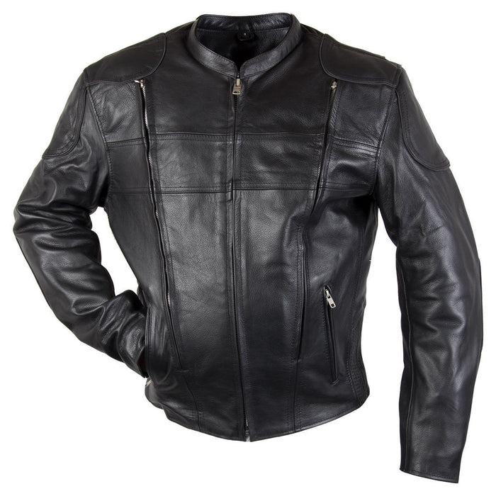 Men's Black Armored Leather Motorcycle Jacket