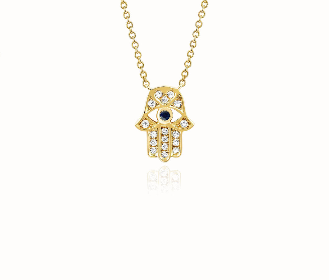 Diamond Hamsa Necklace In Yellow Gold