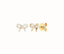 Load image into Gallery viewer, 14K Diamond Mini Bow Stud Earring (Single) In Yellow Gold