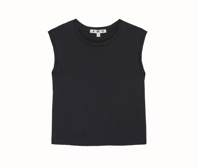 Sleeveless Babe Tee In Vintage Black
