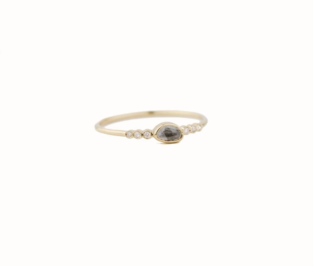 Light Grey Sapphire & Six Diamonds Ring