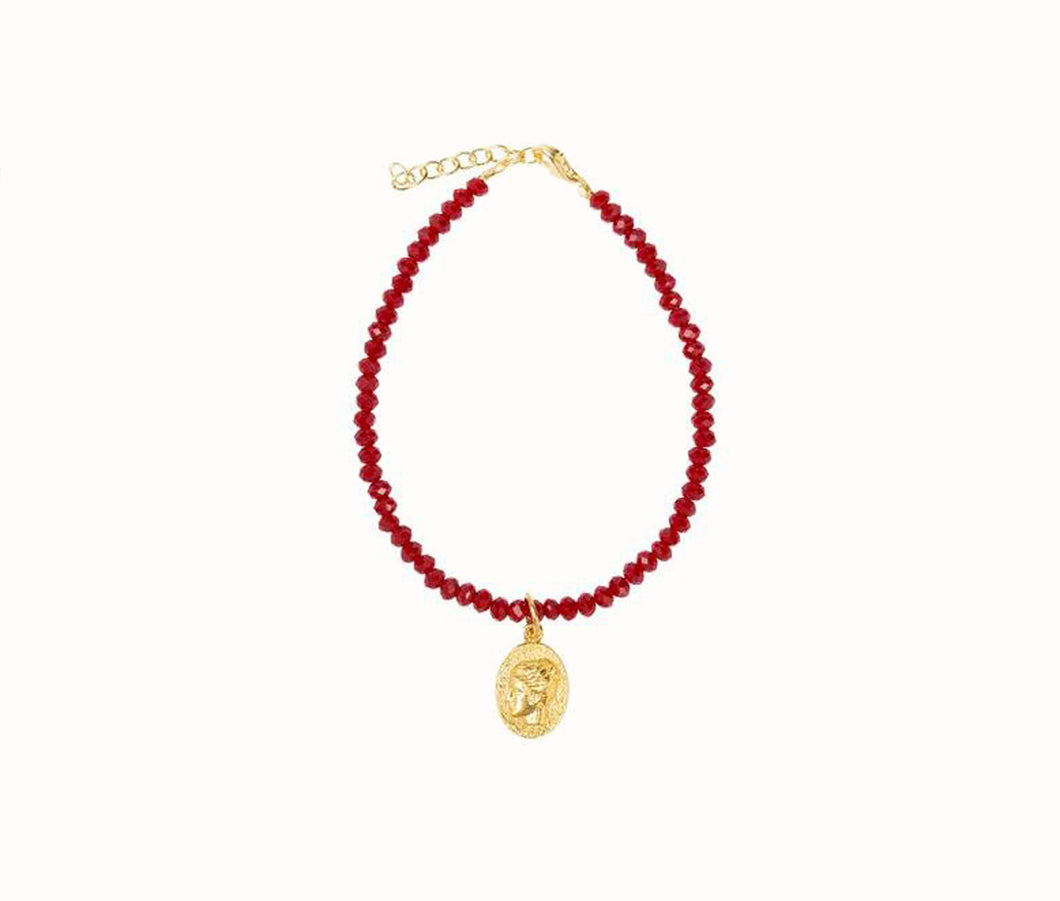 Hygieia Lucky Charm Granada Red beads Bracelet In Red/Gold