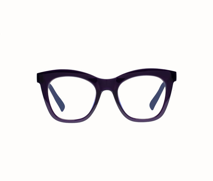 Harlots Bed Cat Eyed Acetate Blue Light Glasses In Deep Purple