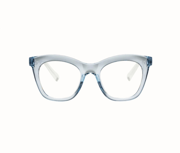 Harlots Bed Cat Eyed Acetate Blue Light Glasses In Clear Blue