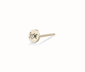 Juxtaposed Stud 10K Yellow Gold / Emerald (Single)