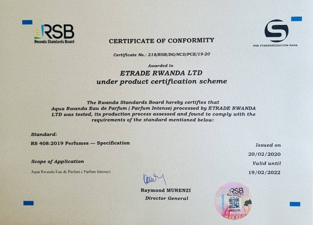 Aqua Rwanda Receives Standardisation mark from Rwanda Standards Board