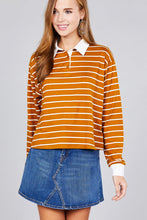 Load image into Gallery viewer, Ladies fashion plus size long sleeve striped dty brushed shirts