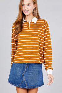 Ladies fashion plus size long sleeve striped dty brushed shirts