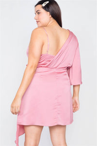 Plus Size  Silk One Shoulder Mini Dress - Kween Kloset