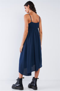 Navy Seal Blue Asymmetrical Square Neck Adjustable Cami Strap Maxi Dress