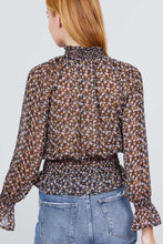 Load image into Gallery viewer, Long Ruffled Raglan Sleeve Mock Neck Smocked Detail Print Woven Top