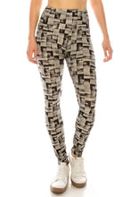Load image into Gallery viewer, Long Yoga Style Banded Lined Multi Printed Knit Legging With High Waist.