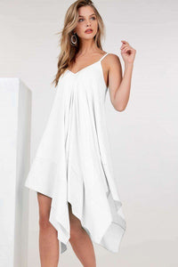Asymmetrical Shoulder Strap Sleeveless Midi Dress