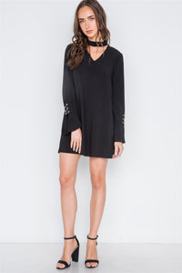 Long Sleeve V-cut Out Solid Mini Dress
