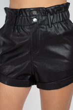 Load image into Gallery viewer, Paper Bag Pu Button Shorts Pants