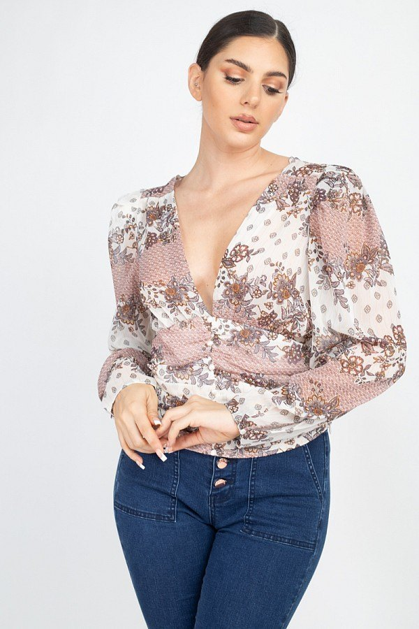 Floral V-neck Ruched Top