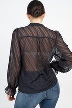 Load image into Gallery viewer, Semi Sheer Ruffle Blouse