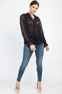 Semi Sheer Ruffle Blouse