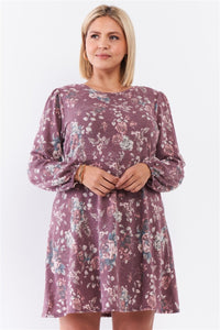 Plus Washed Burgundy Floral Print Long Puff Sleeve Relaxed Mini Dress