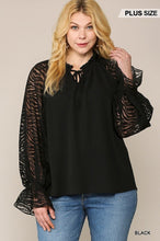 Load image into Gallery viewer, Zebra Burnout Sleeve Ruffled Neck Bubble Crepe Blouse