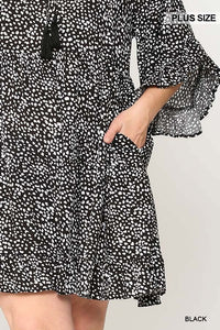 Dot Print Tiered Ruffle Sleeve Dress With Pockets