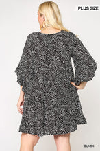 Load image into Gallery viewer, Dot Print Tiered Ruffle Sleeve Dress With Pockets