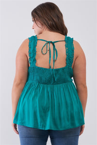 Plus Lace Trim Sleeveless Gathered Front With Self-tie Drawstring Top