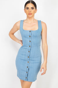Denim Button-front Mini Dress