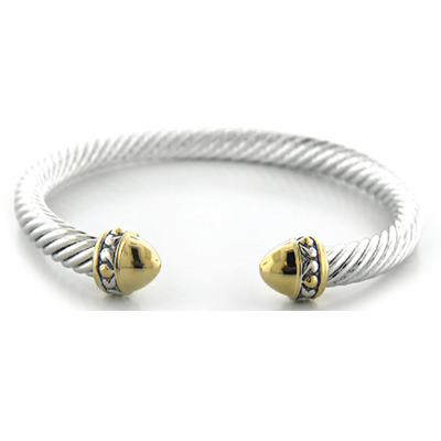 Nouveau Large Gold Dome Bullet Wire Cuff