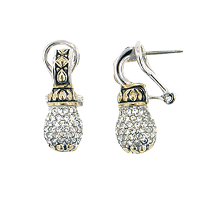 Briolette Pave Drop Post Clip Earrings