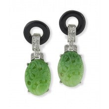 Art deco clip earring with a circle top and a carved resin drop