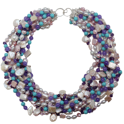 Multi-Colored Pearl Necklace
