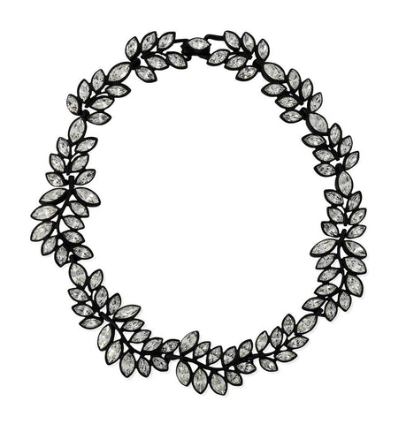 Black Plated Crystal Leaf Necklace