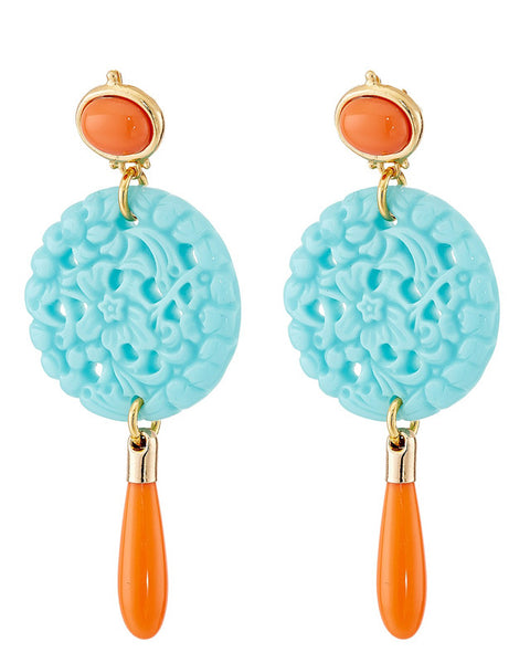 Coral Carved Disc Earrings