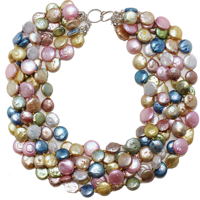 Rainbow Coin Pearl Necklace