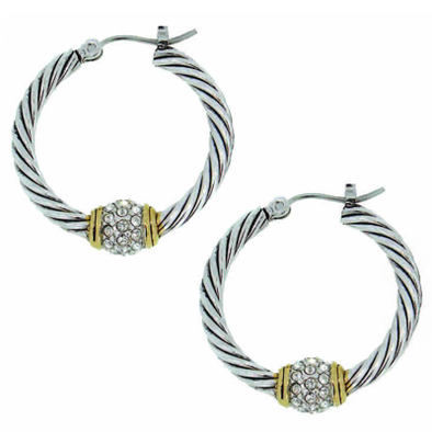 Antiqua Pave Twisted Wire Hoop Earrings