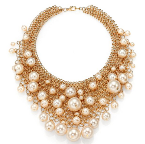 Pearl Chain Bib Necklace