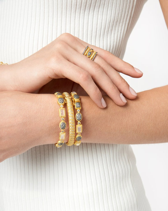 Gilded Cable Twisted Hinge Bangle