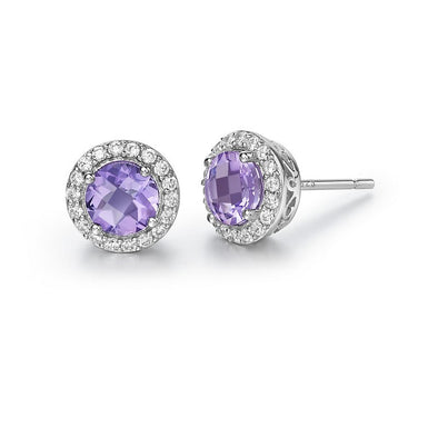 Amethyst Halo Stud Earrings